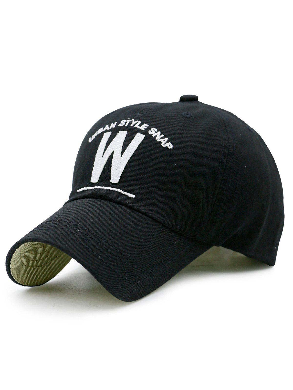 W Shape and Embroidered Baseball Hat, Black