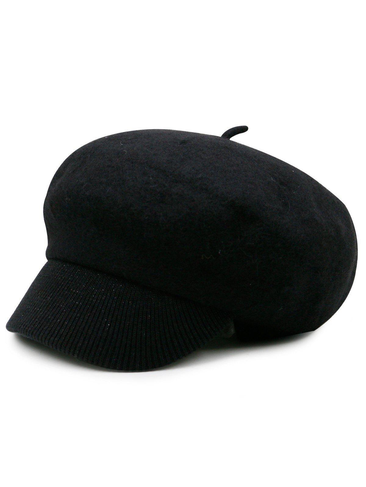 Wool Blend Knitted Newsboy Hat - BLACK
