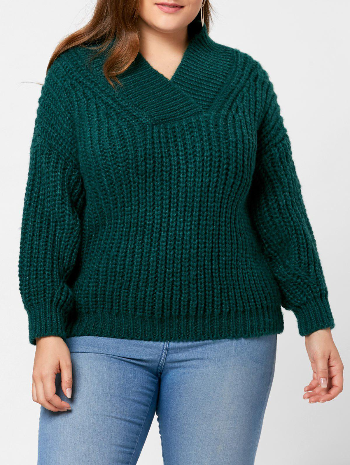 2018 Drop Shoulder Chunky Plus Size Sweater Blackish Green One Size