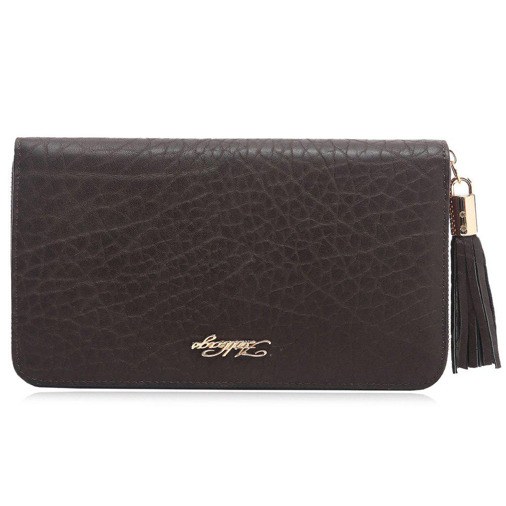 Porte-monnaie Zipper Around Letter Tassel Clutch - Noir HORIZONTAL