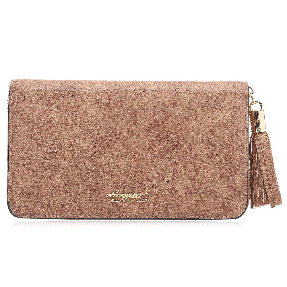 Zipper Around Letter Tassel Clutch Wallet - DEEP BROWN HORIZONTAL