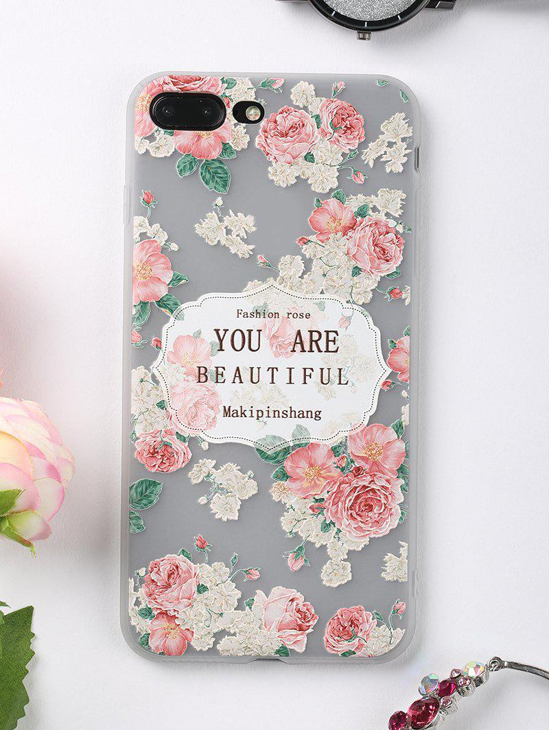 Lettres Rose Pattern Soft Phone Case pour Iphone - Rose FOR IPHONE 7 PLUS