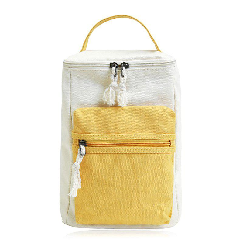 Colour Block Canvas Zippers Backpack - YELLOW