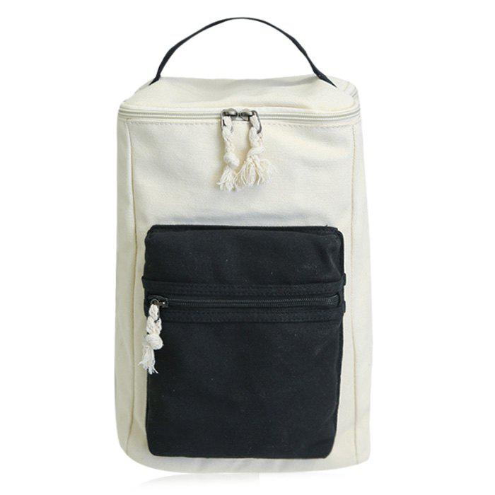 Colour Block Canvas Zippers Backpack - BLACK