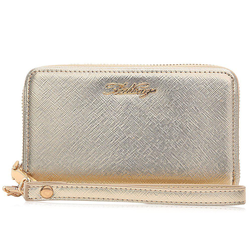 Faux Leather Letter Zipper Around Clutch Bag - GOLDEN HORIZONTAL