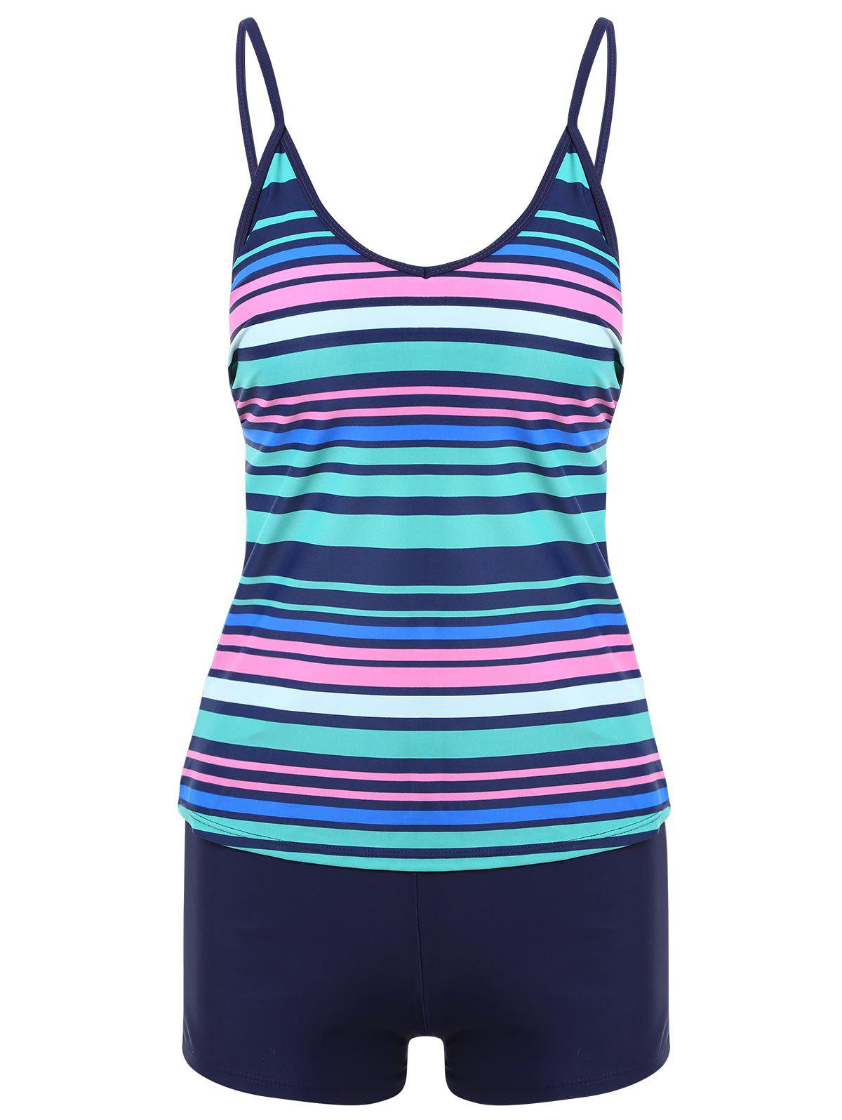 Striped Boyshorts Tankini Set - COLORMIX L