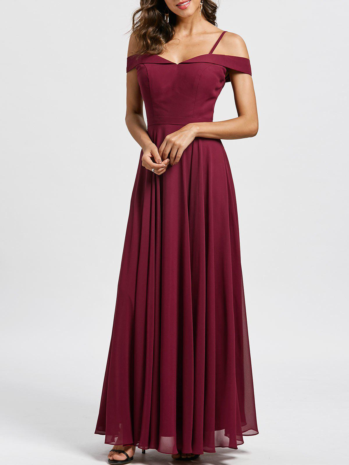 Spaghetti Strap Cold Shoulder Maxi Evening Dress - WINE RED 2XL