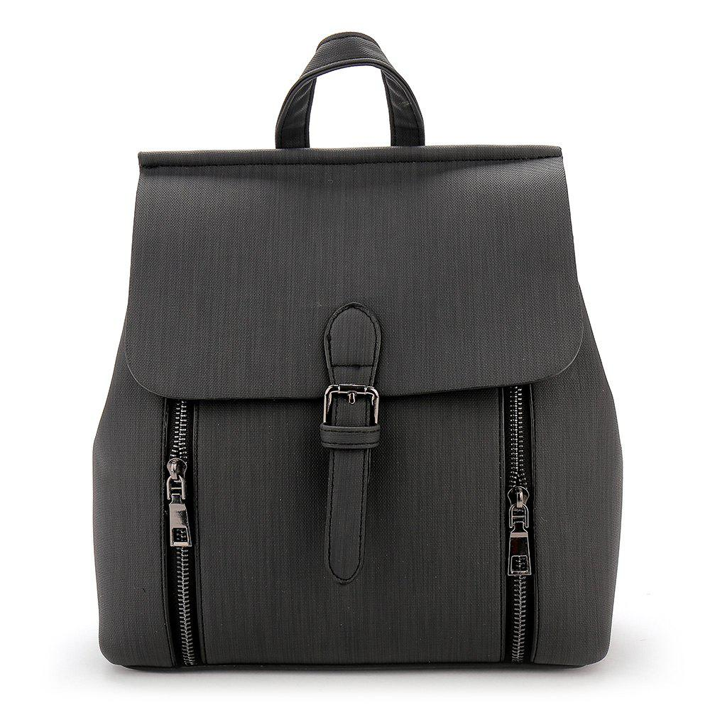 Double Zippers Buckle Strap Backpack - BLACK