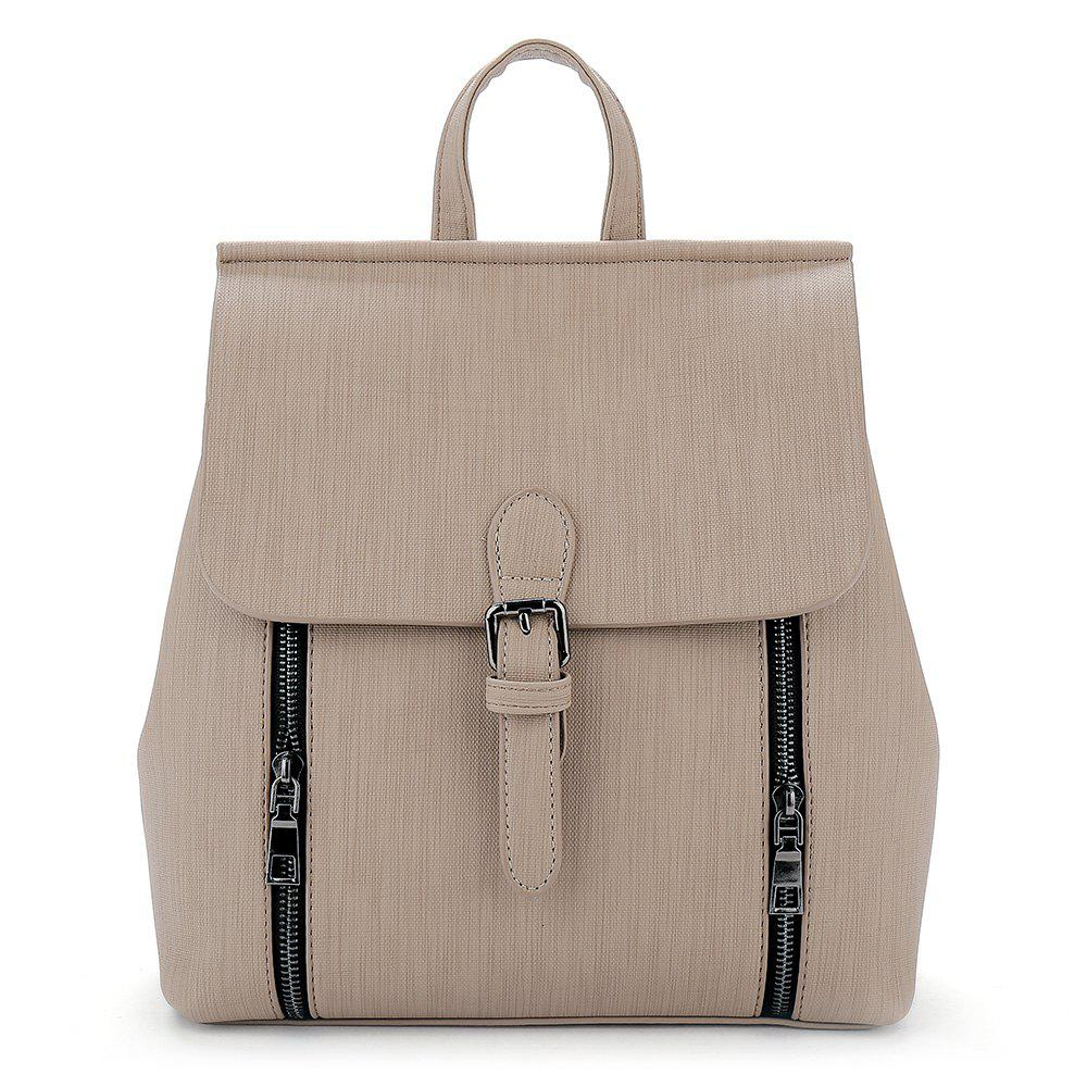 Double Zippers Buckle Strap Backpack - LIGHT KHAKI