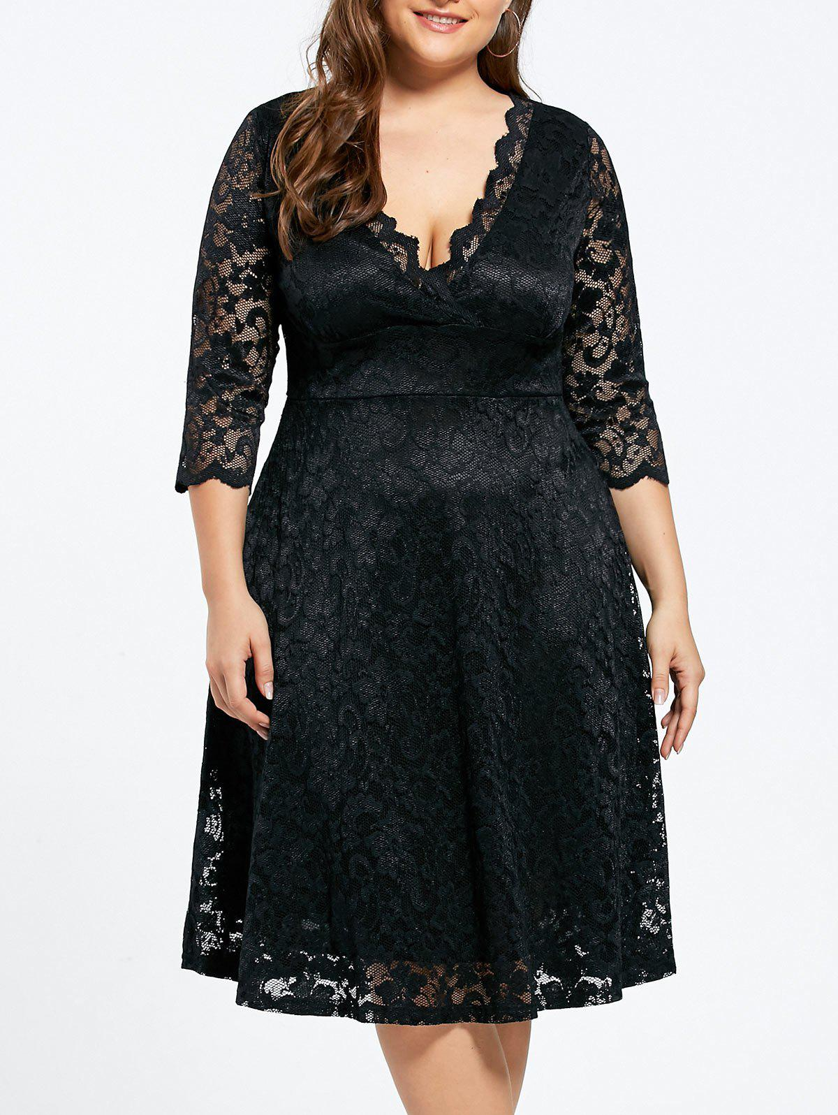 V-neck Plus Size Knee Length Formal Lace Dress - BLACK 5XL
