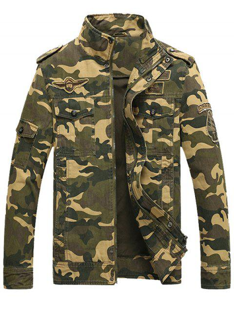 Epaulet Design Zip Up Patch Camo Jacket - Kaki XL