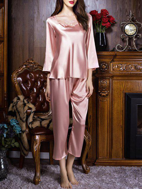 Sweetheart Neck Satin Long Sleeve PJ Set - LIGHT PINK M