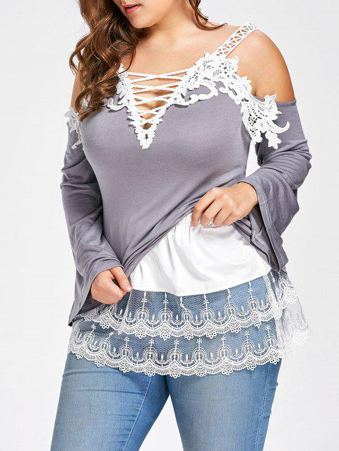 Plus Size Tiered Sheer Lace Extender Skirt - WHITE 2XL