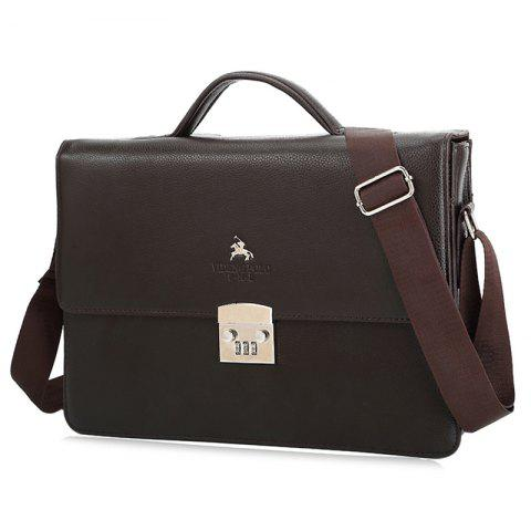 Textured Leather Metal Embellished Briefcase - BROWN