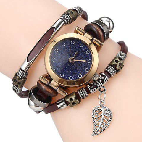 Leaf Charm Bracelet Watch - ESPRESSO