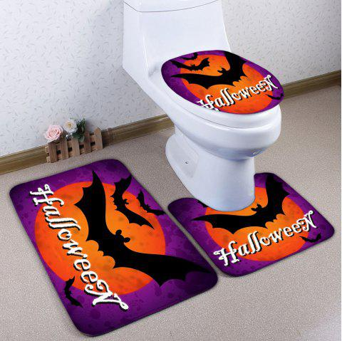 Bat Flannel 3pcs Bath Toilet Mats Set Purple