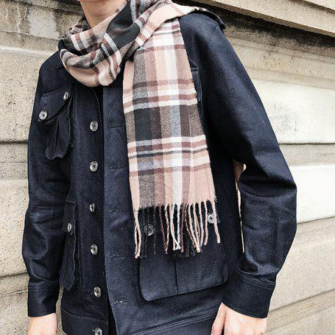 Cashmere-like Acrylic Yarns Plaid Printed Scarf - LIGHT COFFEE