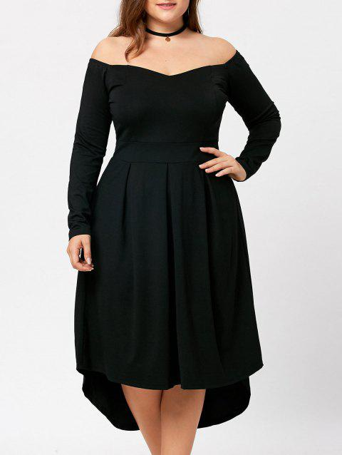 001504b02ab6e 17% OFF] 2019 Long Sleeve Plus Size Off Shoulder Dress In BLACK ...