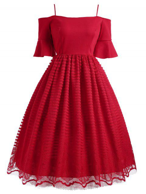 Bell Sleeve Cold Shoulder Lace Panel Dress - RED XL