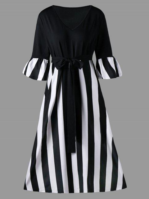 Plus Size Striped Tie Belt Tea Length Dress - BLACK STRIPE 3XL