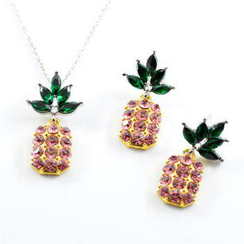 Rhinestone Pineapple Necklace with Earring Set - PINK PINK