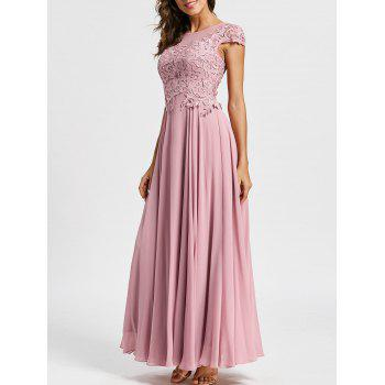 Floral Applique Maxi Formal Evening Dress