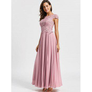 Floral Applique Maxi Formal Evening Dress - LIGHT PINK LIGHT PINK