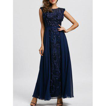 Floral Applique Sleeveless Evening Dress
