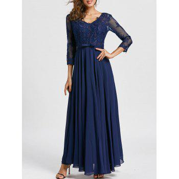 Bowknot V Neck Maxi Evening Dress