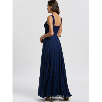 Floral Applique Open Back Evening Dress - PURPLISH BLUE PURPLISH BLUE
