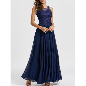 Floral Applique Open Back Evening Dress - PURPLISH BLUE L