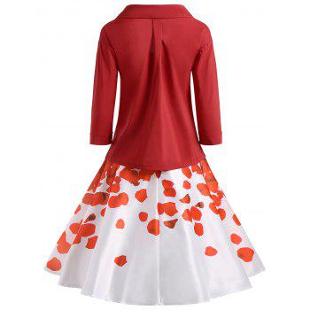 Button Up Blouse with Printed Skirt - RED S