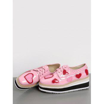 Heart Hollow Out Tie Up Wedge Shoes - PINK 37