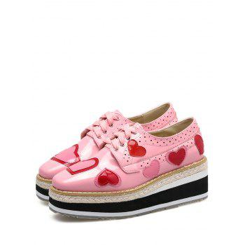 Heart Hollow Out Tie Up Wedge Shoes - PINK 40