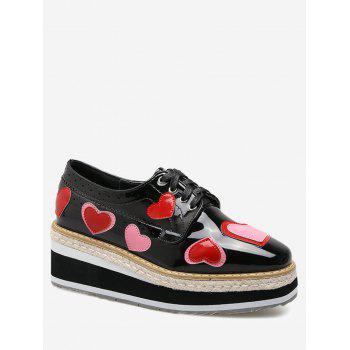 Heart Hollow Out Tie Up Wedge Shoes - BLACK 37
