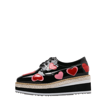 Heart Hollow Out Tie Up Wedge Shoes - BLACK 38