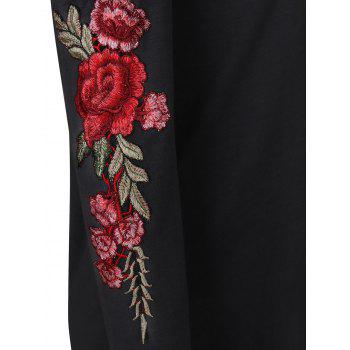 Cold Shoulder Floral Embroidered Tee - BLACK BLACK