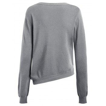 Asymmetric Lace-up Knitted Sweater - GRAY ONE SIZE