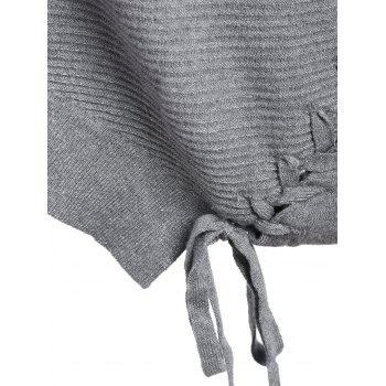 Asymmetric Lace-up Knitted Sweater - GRAY GRAY