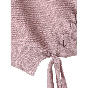 Asymmetric Lace-up Knitted Sweater - PINK PINK