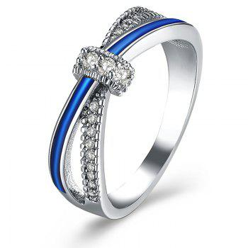 Rhinestone Sparkly Two Tone Ring - SILVER 7