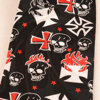 Skull and Fire Printed 10CM Width Neck Tie - BLACK