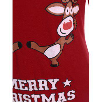 Elk Print Graphic Christmas T-shirt - RED RED