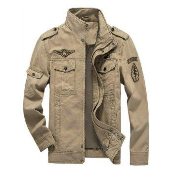 Flap Pocket Zip Up Patch Jacket - KHAKI KHAKI