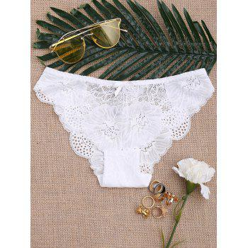 Scalloped Sheer Lace Panties - WHITE XL