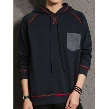 Raglan Sleeve Elbow Patch Chest Pocket Hoodie - PURPLISH BLUE L