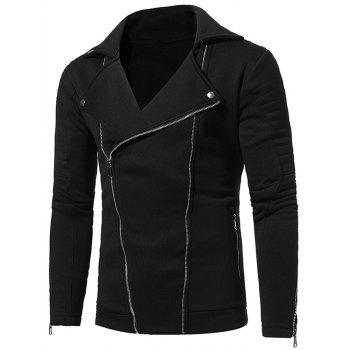 Fleece Double Zipper Biker Jacket - BLACK M