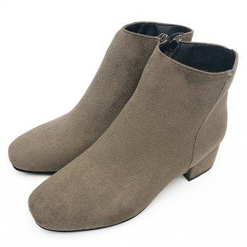 Faux Suede Side Zipper Ankle Boots - KHAKI 38