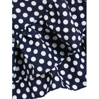 Polka Dot Ruffles Mini Dress - BLUE/WHITE M