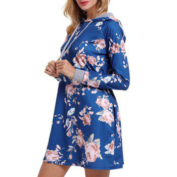 Floral Printed Drawstring Hoodie Dress - BLUE S